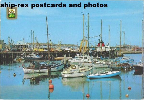 Lowestoft Harbour with BOSTON SEA KNIGHT - postcard